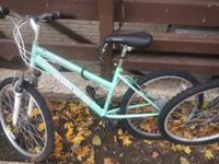 "This is a really woman mountain bike - 24"". Since I am"