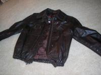 LIKE NEW genuine leather DK brown jacket, zipper front,