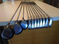 Used set of Wilson right handed golf clubs. Metal woods