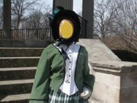 Green plaid dress with bonnet and undersleeves. It's a
