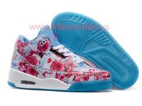 Women style nike air jordan 3 pink blue flower leather