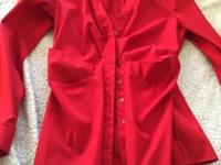 Women le chateau red button down long sleeved shirt