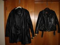 Wilson Leather women's long black coat, size large,