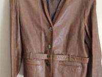 Belted soft brown 100% leather jacket. Jones New York