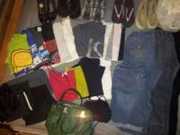 Jeans, Capris, blouses, shirts, shoes, purse etc. Sizes