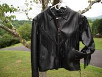 Women's Fringed Leather Motorcycle Jacket Size Large