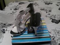 Women's elegant rhinestone high heeled shoes strap