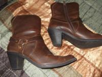 Brown leather ankle harness boots size 7.5 M. Very