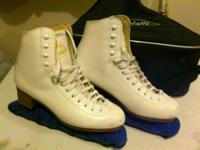 Women's size 8 1/2, men's hockey skates size 10 1/2,