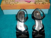 Women's Black Satin Dress Sandal with adjustable strap.