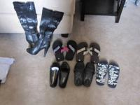 Here's a lot of women's shoes: Size 6 black zebra print