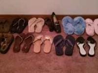 Mostly new 6 pair of flop-flop thongs 2 pair of