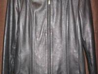 This black leather jacket from Preston & York is in