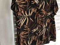 WOMEN'S TROPICAL DESIGN BLOUSE Size L - Croft and