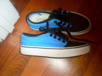 Turquoise and black Vans.. women's size 5.5, men's size