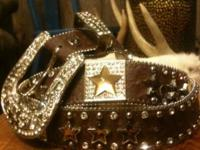 Women's western Bling Bling Cowgirl Belt! Size XL,
