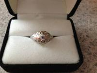2.2 grams girl's stamped 18k white gold and diamond