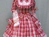 Absolutely Adorable Costume. Red Frilly Plaid Dress