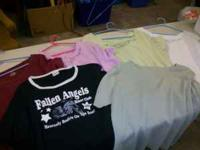 6 shirts all size 3x. maroon, light purple, light