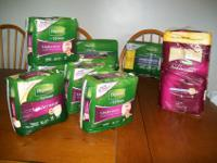 SIX PACKAGES WOMENS XLARGE DEPEND DIAPERS 8.00 EACH