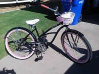 womens beach cruiser with basket, pink black, and