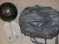Womens bowling ball 13 pounds, shoes size 9 and bag 10$