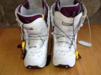 Womens Burton Boots, white with purple, size 8 1/2,