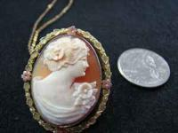 Women Cameo with black Hills Gold surround with a