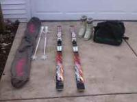 For Sale: Woman's EX7 Arrowwx snow skis and poles with