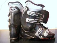 Womens Nordica GP01 black ski boots. Pure overlap, flex