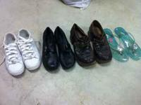 White Shoes size 6, Black pair size 7, Brown pair size