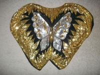 Medium womens silk lined sequined butterfly top. Very