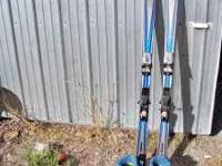 nice used pair of womens ski boots and skis. boots are