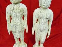 This pair of male and female acupuncture statue is made