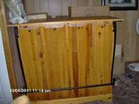 Wood bar with storage cabinet, shelves, wine rack and