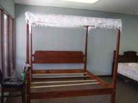 king canopy with lace & metal bed rails underneath