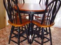 For Sale - Wood/Black Round Table w/ 4 Chairs Table 36