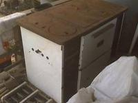 Wood burning cook stove, some chips on white porcelin,