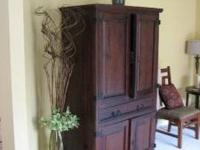 THIS IS A BEAUTIFUL, DARK MAHOGANY STAINED CABINET WITH