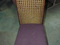 Wood Chair with wicker back & upholstered seat - 369
