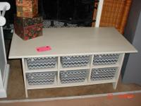 Large Wood Coffee Table with 6 Storage Slots, priced at