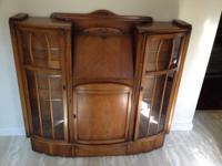 Wood (believed to be oak) credenza with a drop front