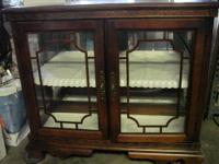 Very nice short style wood curio 31 inches high X 35