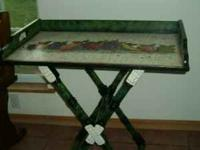 Solid Wood Decoupage Serving Table adjust to two levels