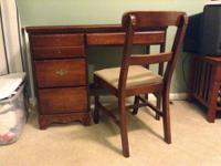 Great dark wood desk and chair for sale. All original