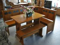 Wood dining booth with bench   225  Located at:  This N
