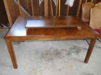 "Nice wood table in good condition 62"" x 40"", plus 12"""