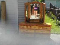 Nice pine wood dresser with Mirror has a scratch on the