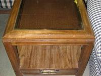 Lumber End Table with Glass Leading & Drawer - 85