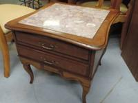 "Timber End Table with Granite Top - 681. 25""l x 25""w x"